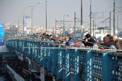Fishermen on Galata Bridge Stock Photography