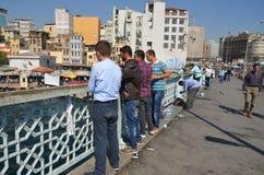 Fishermen on Galata bridge Stock Photo