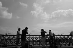 Fishermen on the Galata Bridge. Istanbul, Turkey - 3 September 2011. Fishermen on the Galata Bridge Royalty Free Stock Image