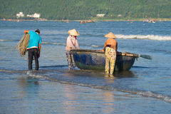 Fishermen are going to put out to sea on fishing. Vietnam Royalty Free Stock Image