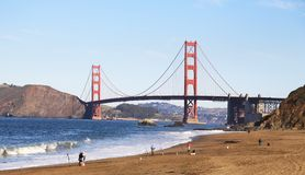 Fishermen and Golden Gate Stock Photography