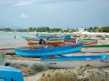 Fishermen in Hammamet, Tunisia stock photo