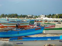 Fishermen in Hammamet, Tunisia Stock Image
