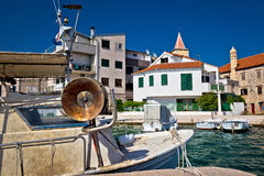 Fishermen harbor of old town Pirovac Royalty Free Stock Photography