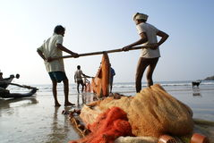Fishermen hauling Stock Photography