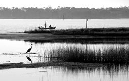 Fishermen by heron in bay Royalty Free Stock Photo