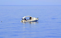 Fishermen on the high seas. September 2014,Aegean sea Greece.Happy people,satisfied with life Stock Images
