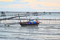 Fishermen with his boat. At thailand Royalty Free Stock Photography
