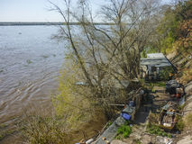 Fishermen House in front of Parana River Stock Photos