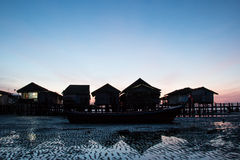 Fishermen house silhouette. Abstract background Stock Photos