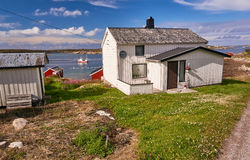 Fishermen houses on the banks of the fjord Royalty Free Stock Photo