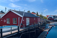 Fishermen houses on banks of Norwegian island Royalty Free Stock Photography