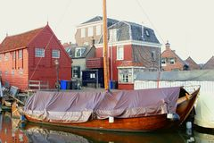 Scenic ancient Dutch fishing village,Spakenburg,Netherlands Stock Photo