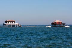 Free Fishermen Houses Huts Of The Basin Of Arcachon Pond On Stilts In France At Cap Ferret Cabanes Tchanquees Stock Images - 160039444
