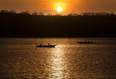 Fishermen hunting at sunrise - Donsol Philippines royalty free stock images