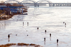 Fishermen on the ice. Royalty Free Stock Photography