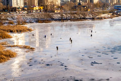 Fishermen on the ice. Stock Images