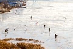 Fishermen on the ice. Royalty Free Stock Photos