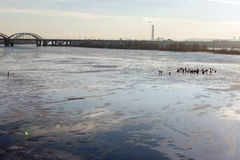 Fishermen on the ice. Stock Photo