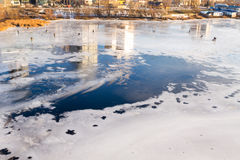 Fishermen on the ice. Royalty Free Stock Images