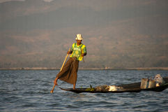 Fishermen in Inla lake, Myanmar Royalty Free Stock Photography