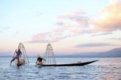 Fishermen at Inle Lake Royalty Free Stock Image