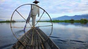 Fishermen in Inle Lake, Inle, Shan State, Myanmar stock video footage