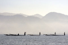 Fishermen on Inle lake in Myanmar Royalty Free Stock Photography