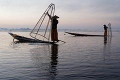 Fishermen on Inle lake Stock Photos