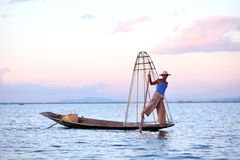 Fishermen at Inle Lake Stock Photo