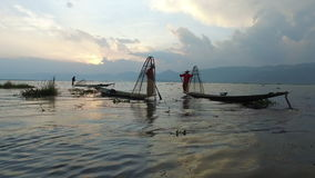 Fishermen on the Inle Lake stock video footage