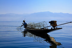 Fishermen in Inle lake, Myanmar Stock Photography