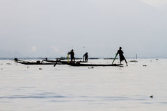 Fishermen on Inle Lake, Myanmar Stock Photo