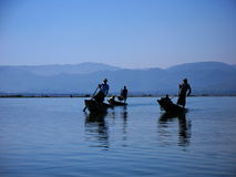 Fishermen in the Inle Lake in Myanmar Stock Photo