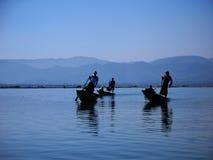 Fishermen in the Inle Lake in Myanmar Stock Photo