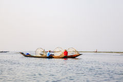 Fishermen on Inle Lake, Shan, Myanmar Stock Images