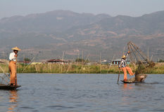 Fishermen at Inle Lake royalty free stock photos