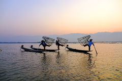 Fishermen on Inle Lake, Shane, Myanmar Royalty Free Stock Photo
