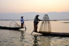 Fishermen on Inle Lake, Shane, Myanmar Stock Images