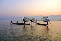 Fishermen on Inle Lake, Shane, Myanmar Stock Photography