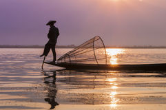 Fishermen on Inle Lake Royalty Free Stock Photo
