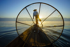 Fishermen in Inle Lake at sunrise, Shan State, Myanmar Stock Photography