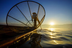 Fishermen in Inle Lake at sunrise, Shan State, Myanmar Stock Photos