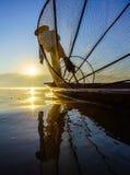 Fishermen in Inle Lake at sunrise, Shan State, Myanmar Stock Image