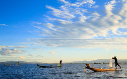 Fishermen in Inle Lake at sunset, Shan State, Myanmar Royalty Free Stock Photography