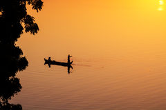 Fishermen on the Irrawaddy river in Bagan Stock Photo