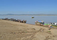 Fishermen on the Irrawaddy river, Myanmar Royalty Free Stock Images