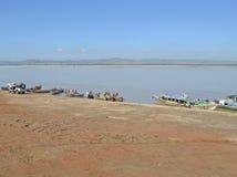 Fishermen on the Irrawaddy river, Myanmar. Fishermen on the bank of the Irrawaddy river, Bagan, Burma (Myanmar Stock Photo