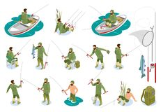 Fishermen Isometric Icons. Fishermen during catching fish on spinning rod set of isometric icons with tackle isolated vector illustration royalty free illustration