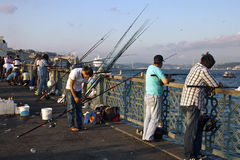 Fishermen in Istanbul Royalty Free Stock Image